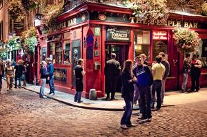 Drink Beer in Temple Bar District, Dublin, Ireland
